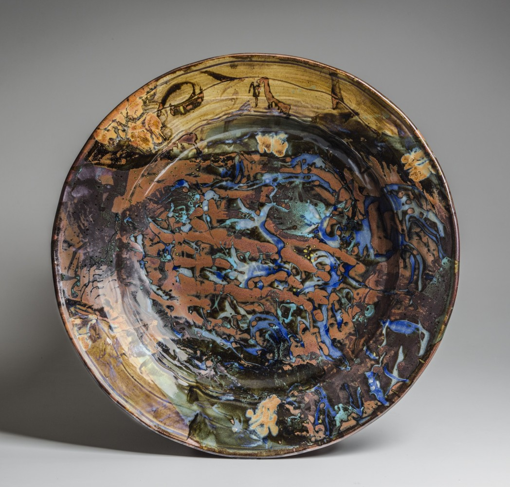 "John Glick ""Plate"" 2003 Stoneware; reduction fired, multiple slips and glazes, glaze trailing  Promised gift from the Marilyn and Timothy Mast Collection of Contemporary Ceramics  Photo by R. H. Hensleigh"