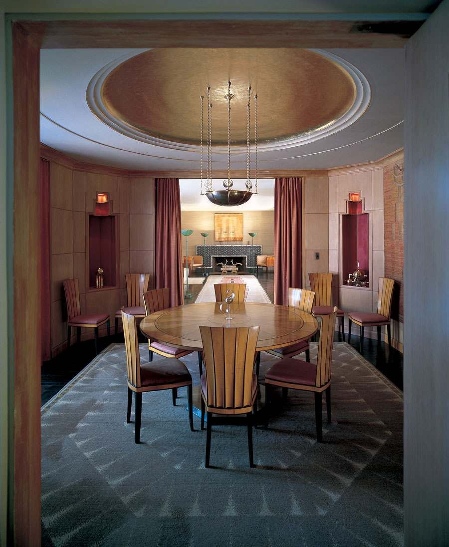 Saarinen House Dining Room, designed 1928; restored 1994. Photo by Balthazar Korab, (c) Cranbrook Art Museum.
